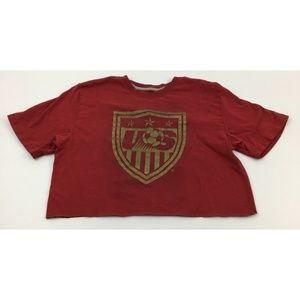 Nike US Soccer Crop Top Tee Raw Hem Graphic L/XL